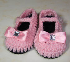 Pink Mary Jane shoes 0-3 months by Crochet-by-Clarissa