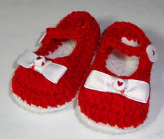 Red Mary Janes by Crochet-by-Clarissa
