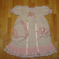 Girls christening or blessing Gown set by Crochet-by-Clarissa