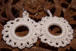 White sparkle circle earrings