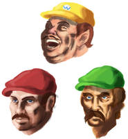 Mario, Luigi, and Wario sketch by Phobos-Romulus