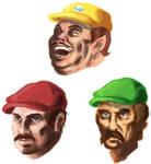 Mario, Luigi, and Wario sketch