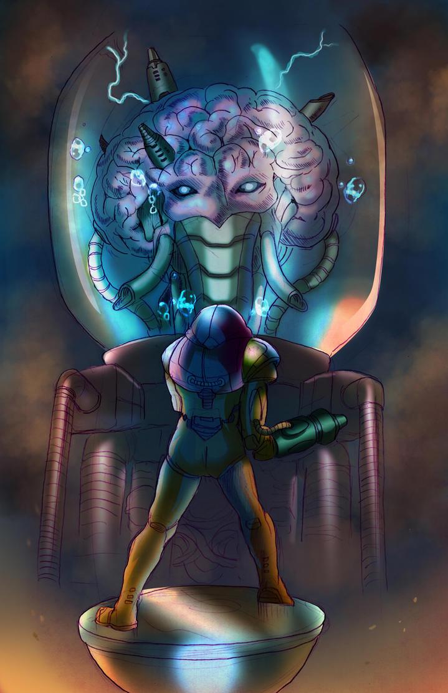 Samus vs. Mother Brain by Phobos-Romulus