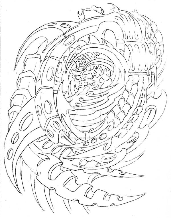 Biomechanical Tattoo Line Drawing : Bio mech moon cover up by digitalphenom on deviantart