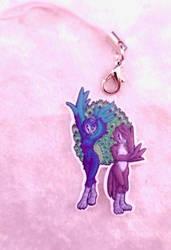 Peacocks Acrylic Charm by ami-nomiko