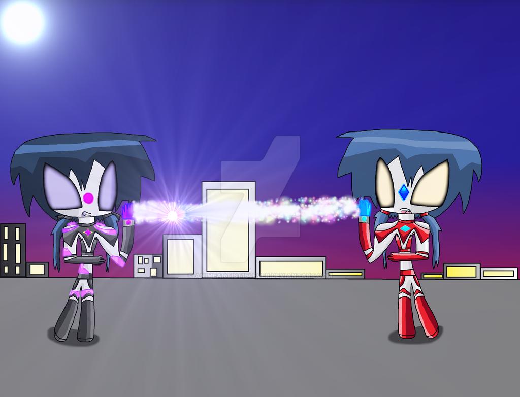 Ultrawoman Ayumi VS. Ultrawoman Dark Ryuza by AnimeArtist154ever