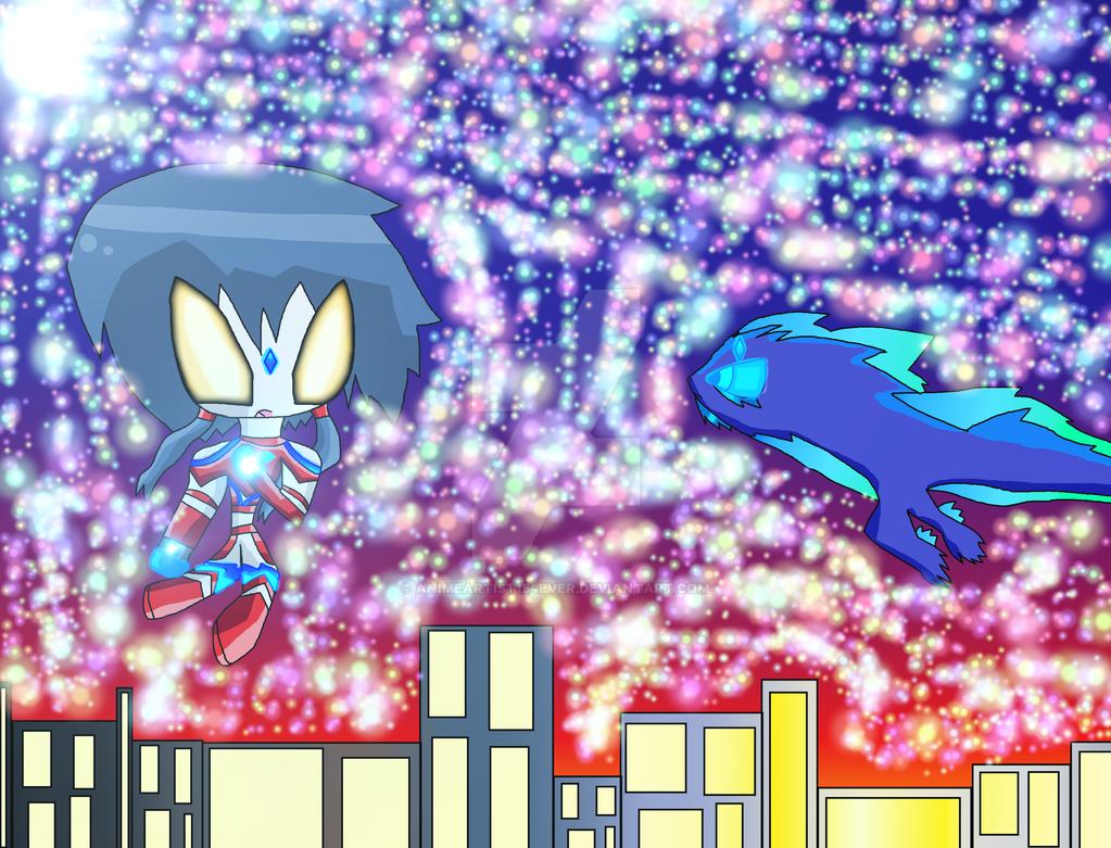 Ultrawoman Ayumi Battles Suishou by AnimeArtist154ever