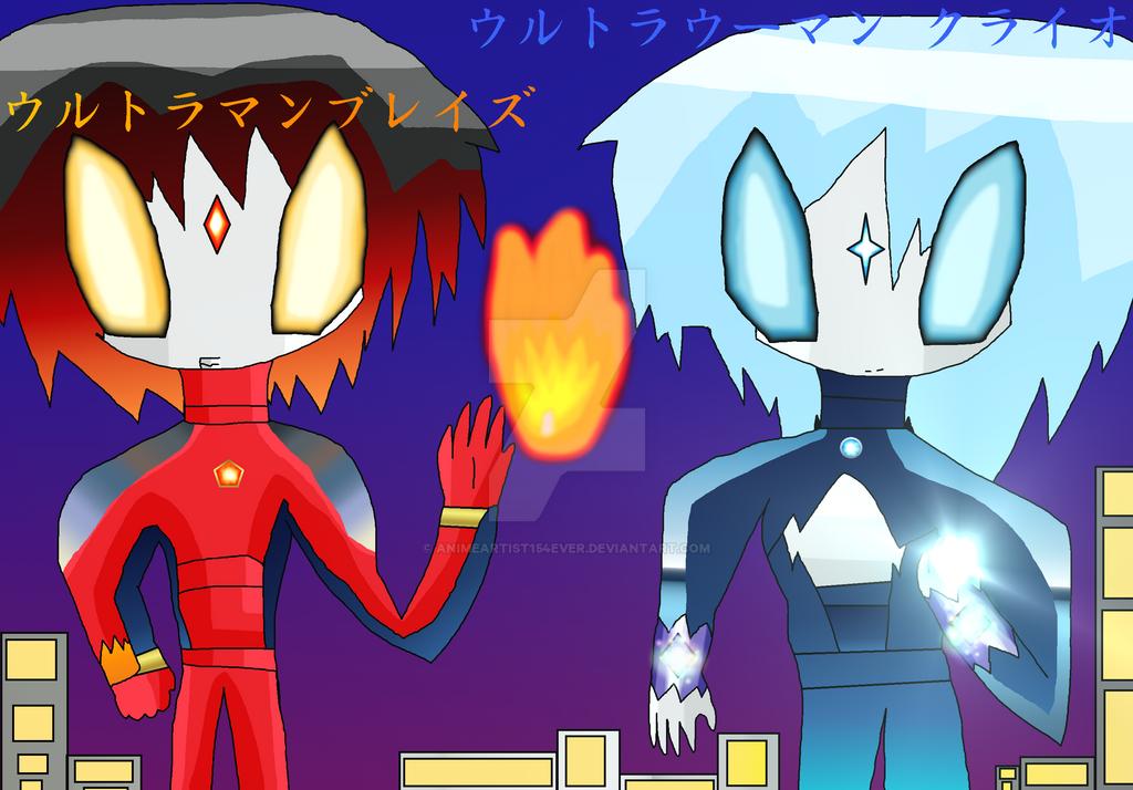 Ultraman Blaze and Ultrawoman Cryo by AnimeArtist154ever