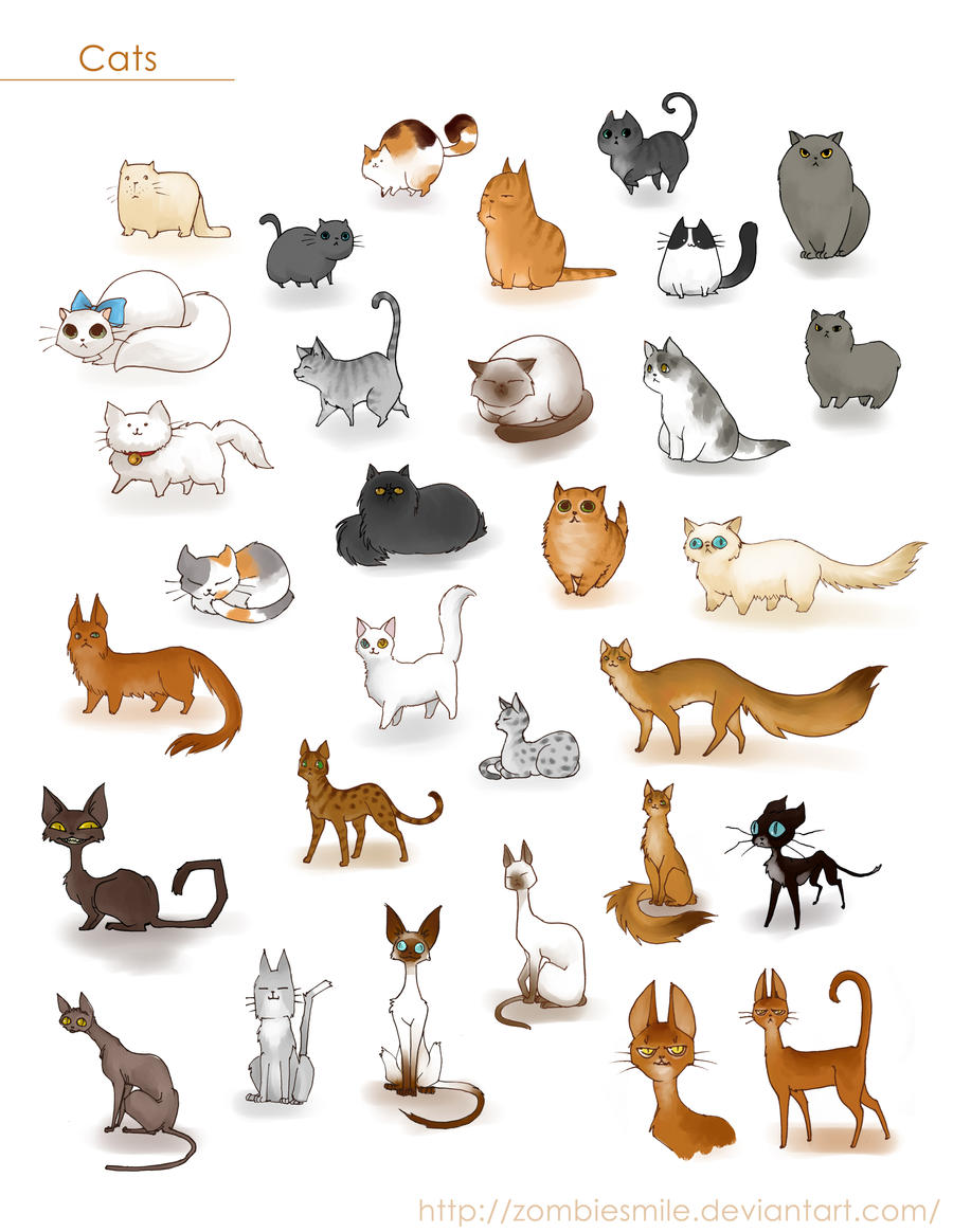Cute Character Design Illustrator : A ton of cats by zombiesmile on deviantart