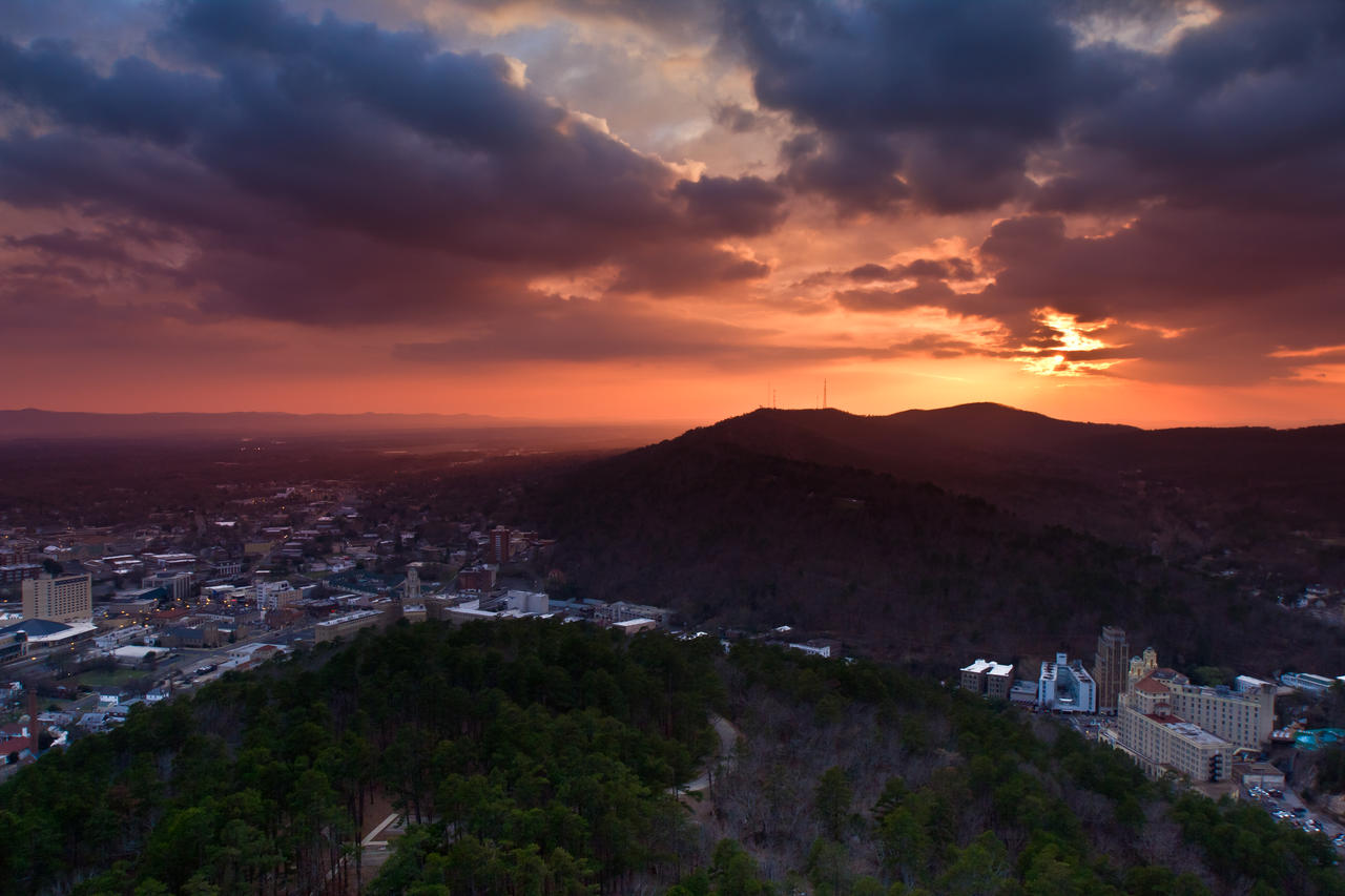 Sunset over Hot Springs, AR by akaleus