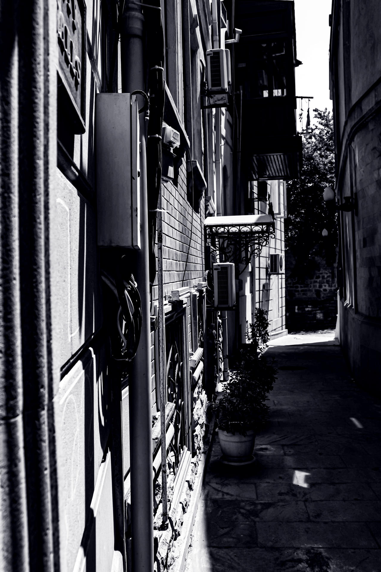 Black and white style in Old City (darkness)