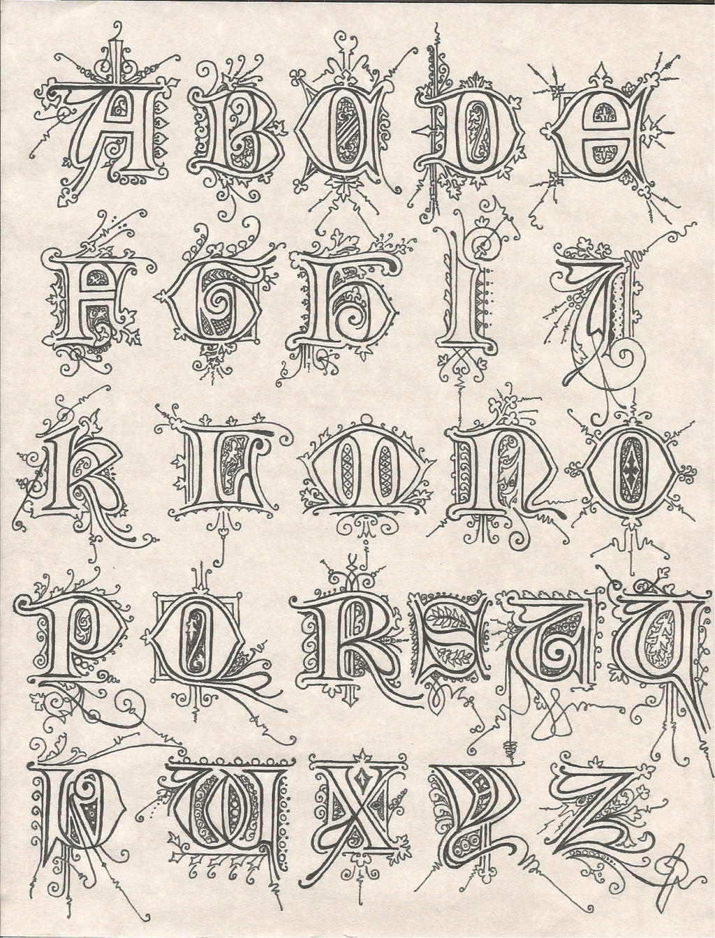 Calligraphy alphabet with frills by septaliger on deviantart
