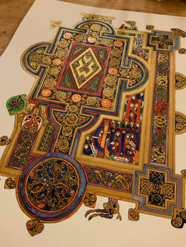 Book of Kells Quoniam page, handmade reproduction
