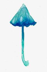 Watercolour blue umbrella mushroom