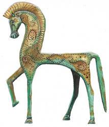 Watercolour bronze horse