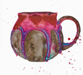 Watercolour pink drippy mug