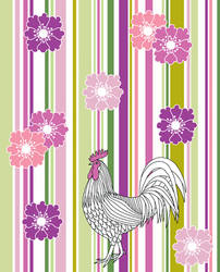 White Cockerel And Flowers