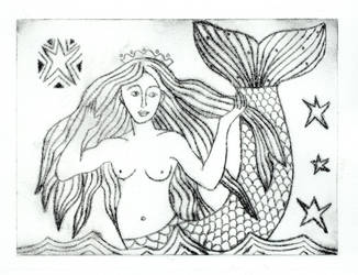 Craster Mermaid Etching by TootieFalootie