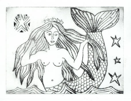Craster Mermaid Etching