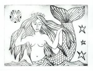Craster Mermaid Etching
