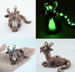 brown glow in dark dragon by claymeeples