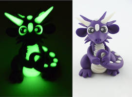 purple glow in dark dragon by claymeeples
