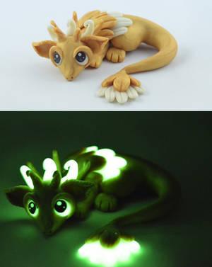 Golden Glow In Dark Dragon by claymeeples