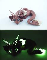 bronze glow in dark dragon by claymeeples