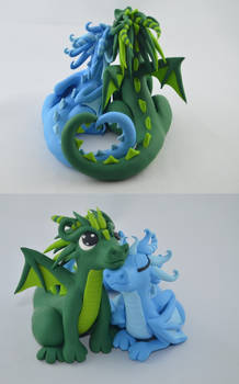 custom order - wedding cake topper - dragon couple