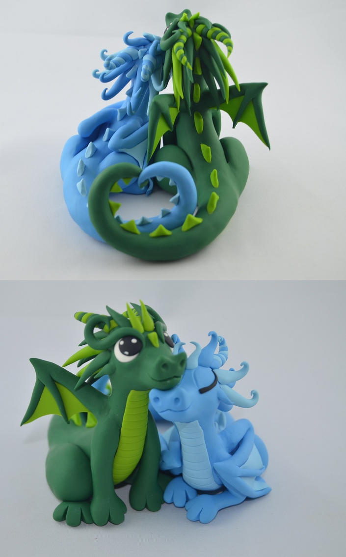 custom order - wedding cake topper - dragon couple by claymeeples on ...