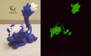 Blue Angel Dragon  - Glow In The Dark by claymeeples