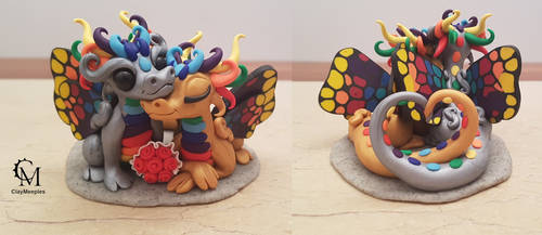 Rainbow Butterfly Dragon Couple by claymeeples