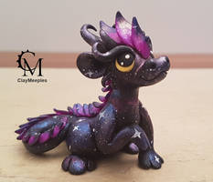 galaxy dragon figurine - purple by claymeeples