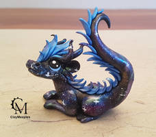 blue galaxy dragon by claymeeples