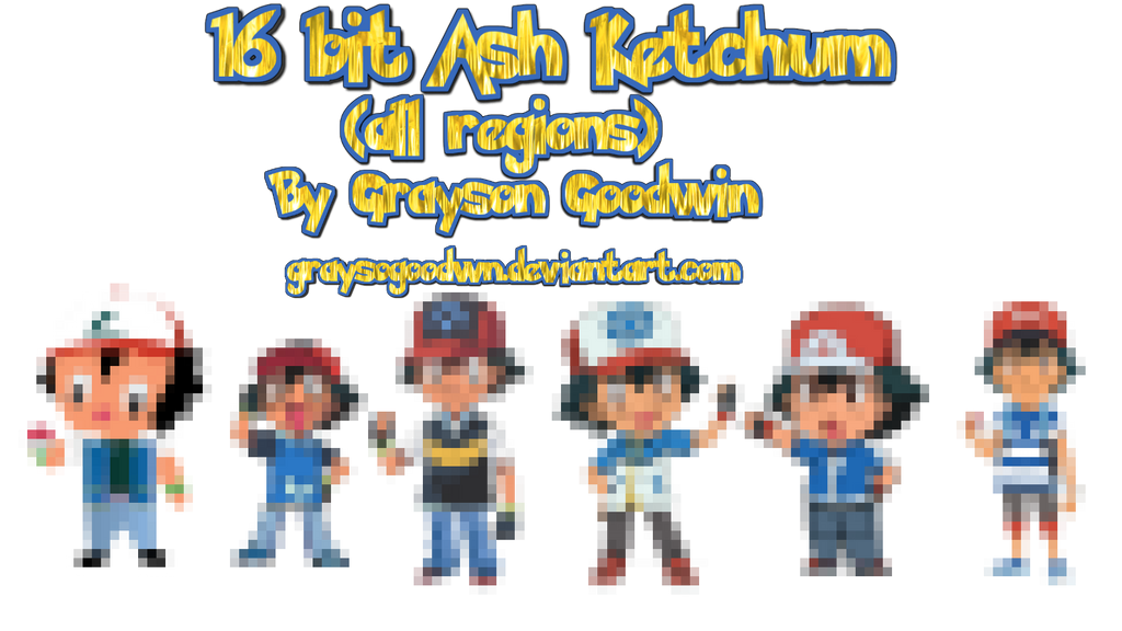 16 bit Ash Ketchum by GraysoGoodwn