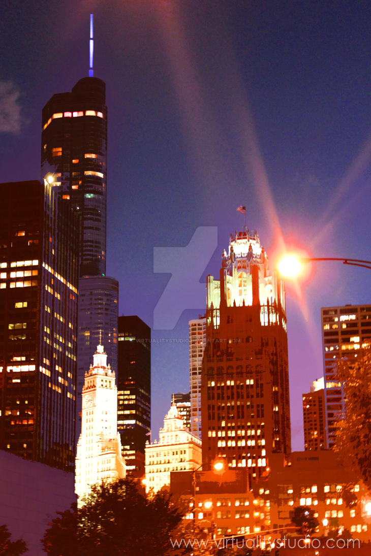 Chicago at Night by VirtualityStudio