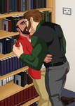 Kissing in the library stacks