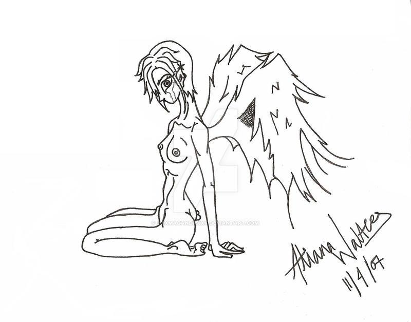 sad angel_line art by xxxmagandaxxx