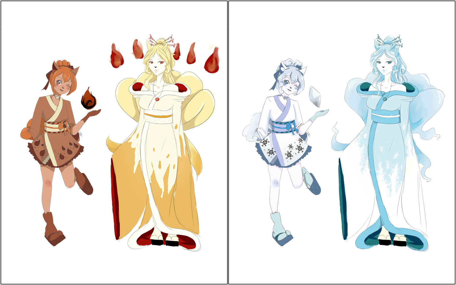Vulpix and Ninetales gijinkas + alola forms by AsleepPanther on ...
