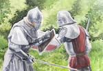 Knights Swordfight Watercolor