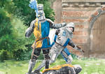 Knights Duel Watercolor