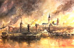 Medieval Town on Fire
