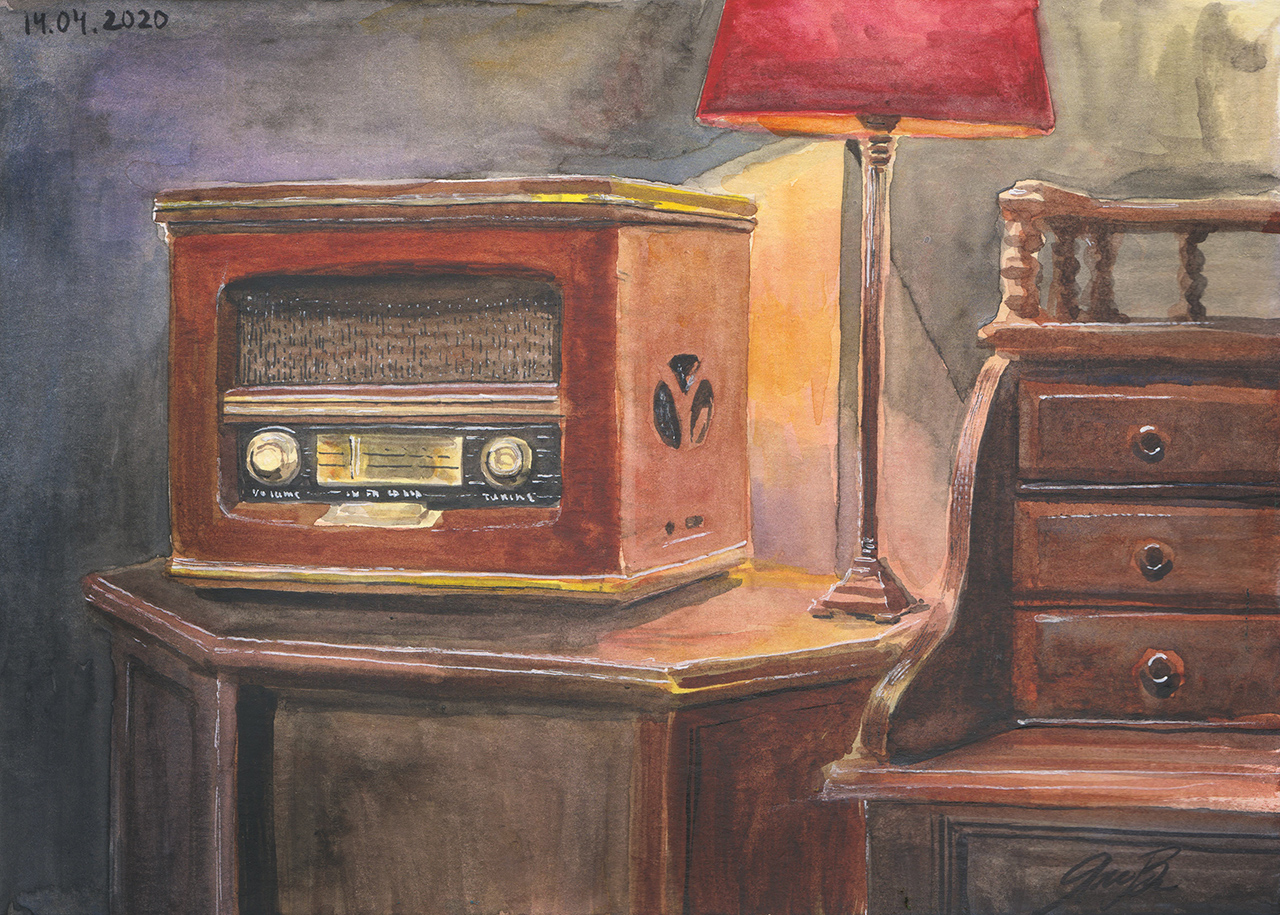 Retro Radio Watercolour