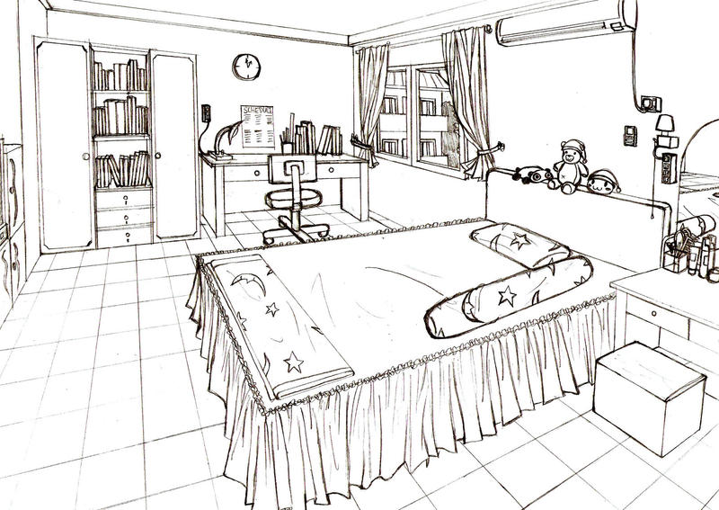 One Point Perspective Bedroom The Image