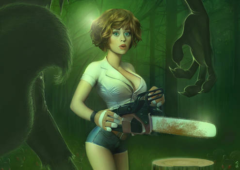 The girl, the chainsaw ...