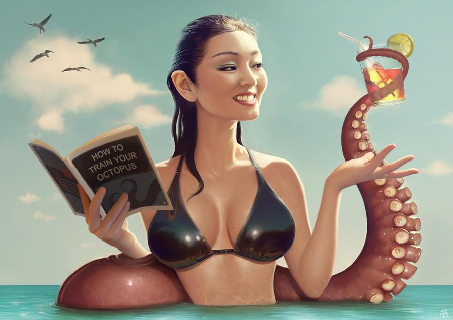 Gong Li and tentacle by PapaNinja