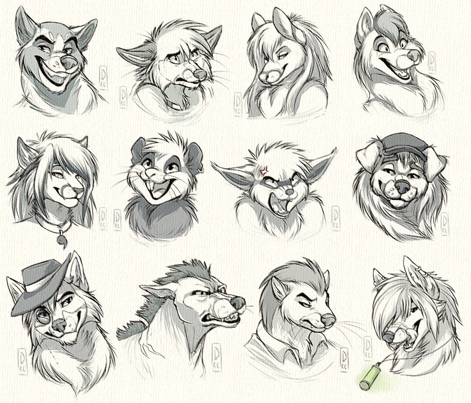 Headshot Sketch Commission: Batch 1 by SilverDeni