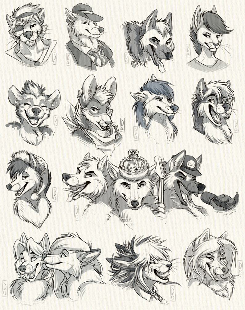 Headshot Sketch Commission: Batch 2 by SilverDeni
