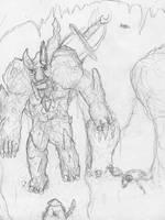 Stone Golem Sketch by VikingCheese