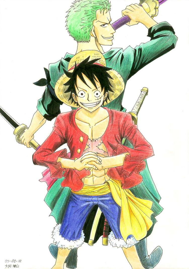 Luffy and Zoro by TaiK...